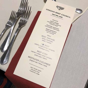 Oregon Beef Council Chef of the Year Dinner Menu by Chef Stoller Smith