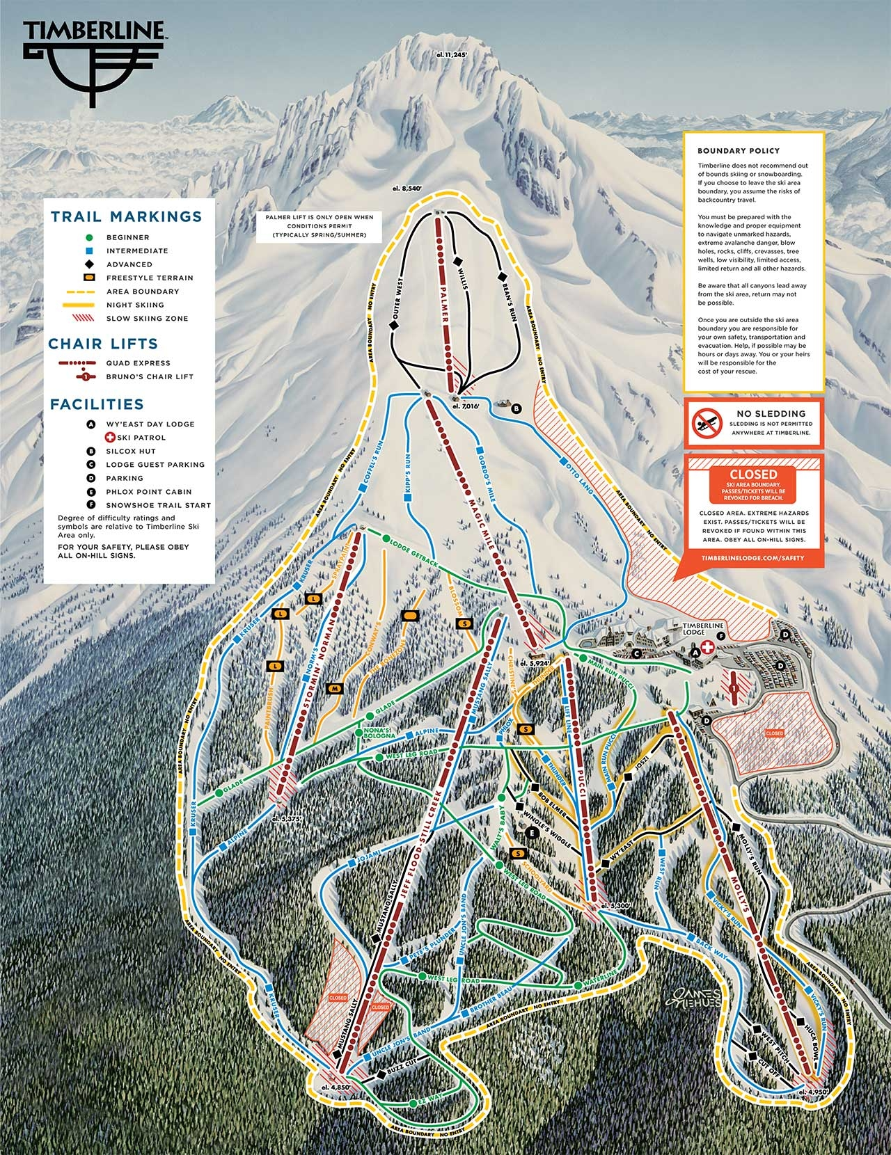 TIMBERLINE WINTER TRAIL MAP